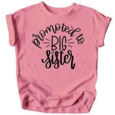Olive Loves Apple Promoted to Big Sister Colorful Announcement T-Shirt for Baby and Toddler Girls Sibling Outfits Big Sister Shirt - This adorable Promoted to Big Sister Colorful Announcement T-Shirt is absolutely perfect for your toddler girls outfit High quality and professional print - It doesn't just look high quality, it is high quality! Make your little one's siblings outfit picture perfect with this Promoted to Big Sister Colorful Announcement T-Shirt for Baby and Toddler Girls Outfits De Baby Surprise Announcement, Second Pregnancy Announcements, Big Sister Announcement, Cute Baby Announcements, Pregnancy Announcement Shirt, Baby Number 2 Announcement, Pregnancy Shirts, Sibling Shirts, Big Sister Shirts