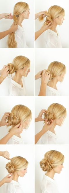 Knotted bun style- relaxed and pretty for rehearsal!