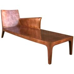 Copper Chaise Lounge by Paul Mathieu  India  2003  Very sculpted copper clad chaise lounge chair by Paul Mathieu for Stephanie Odegard Collection comes with custom made silk cushion