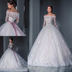 Luxurious Ball Gown Princess Lace Wedding Dresses 2016 New Off the Shoulder Long Sleeves Chapel Train Tulle Appliques Beads Bridal Gowns Wholesale Wedding Dresses, 2016 Wedding Dresses, Stunning Wedding Dresses, Classic Wedding Dress, Perfect Wedding Dress, Bridal Dresses, Lace Wedding, Dresses 2016, Bridal Bouquets