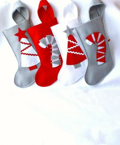 cute, simple Christmas Holiday stockings in red gray and white felt by rikrak Grey Christmas Tree, Christmas Style, Cute Christmas Stockings, Diy Stockings, Christmas Deco, Christmas Colors, Christmas Tree Decorations, Christmas Holidays, Simple Christmas
