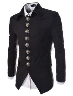 (737-BLACK) Mens Luxury 8 Btn Blazer Jacket BLACK ::::Theleesshop:::: All mens slim & luxury items