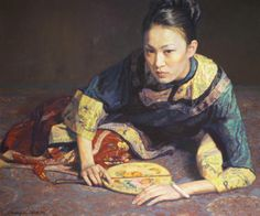 Chen Yifei (1946-2005) Reclining Woman with Fan Oil on canvas, framed Signed Chen Yifei in English and Chinese Circa 1996
