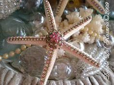 Beach Shimmer Collection Pink Jeweled Starfish-Beach, Sea, Romantic, Home, Jewels, Starfish, Shells, Antique, Vintage, Cottage, Sparkle