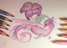 Pink flower dragon by AlviaAlcedo.deviantart.com on @DeviantArt