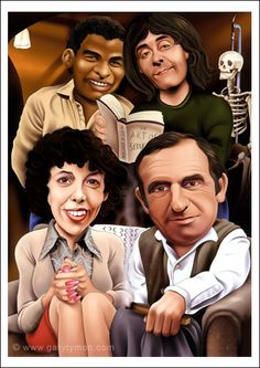 RISING DAMP caricature - artwork print signed by artist - 100 print edition - 2 sizes - airbrush pen English Comedy, British Comedy, Rising Damp, Uk Tv Shows, Famous Cartoons, Comedy Tv, First Tv, Have A Laugh, Cartoon Kids