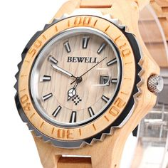 2016 New Bewell Man Wooden Watch New Year Gift Bangle Quartz Watch With Calendar Display Role Men Relogio Masculino Watches