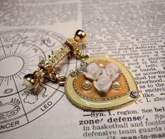 Hanging Heart Pin Porcelain Roses, Gold Tone, Pearls & AB Rhinestones Brooch