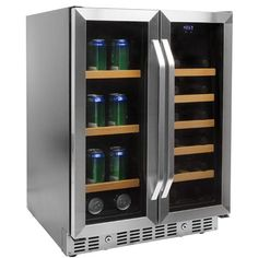 EdgeStar 24 Inch Wide Wine and Beverage Cooler with French Doors Stainless Steel Refrigerators Beverage Center Wine and Beverage Best Wine Coolers, Wine Coolers Drinks, Wine Chillers, Beverage Refrigerator, Wine Fridge, Undercounter Refrigerator, Wine Storage, Locker Storage, Built In Wine Cooler