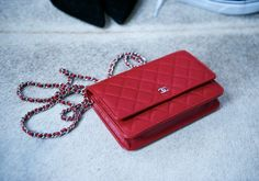 Chanel Red wallet on a chain