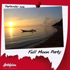 19/09/2013, Thailandia. Nella spiaggia di Haad Rin Nok nelle parte sud di KohPhangan, da quasi 20 anni durante ogni notte di luna piena, si tiene il famoso Full Moon Party, una delle più grandi feste a livello mondiale che raduna fino a 20.000 persone provenienti da ogni parte del mondo. Vuoi partecipare alla prossima data del 19 settembre?