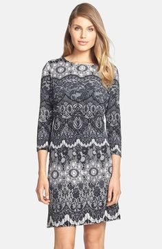 Donna Morgan Lace Print Jersey Shift Dress available at #Nordstrom