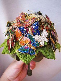 Handmade butterfly brooch bouquet