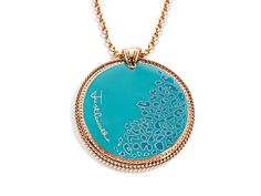 Just Cavalli perfectly translates the leopard print trend popping up all over the runways into this sleek pendant. Glossy turquoise leopard print enamel is displayed in a setting of rose gold-plated stainless steel and finished with a Just Cavalli signature. Piece measures 2 1/2 by 2 1/4 inches. <BR>Comes with a pink gold-plated stainless steel 35-inch cable chain.