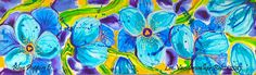Blue Poppies 6 Hand Painted Silk Original with free shipping