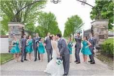 Bridesmaids in Teal and Groomsmen in Grey Suits at Vintage Teal Wedding— Courtney Carolyn Photography