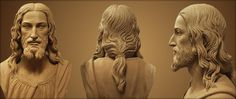 Sculpture based on the Man on the Shroud of Turin. Evidence shows that the hair was tied in a pony tail.