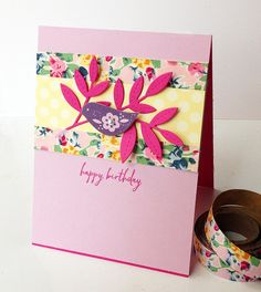 Birthday Songbird Card by Danielle Flanders for Papertrey Ink (October 2014)