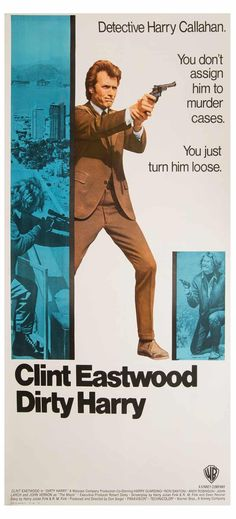 Dirty Harry (Warner Brothers, Three Sheet X Clint Eastwood plays the original rogue - Available at 2016 March 26 - 27 Vintage. Iconic Movie Posters, Cinema Posters, Movie Poster Art, Clint Eastwood, Cult Movies, Action Movies, Indie Movies, Famous Movies, Ghoul Movie
