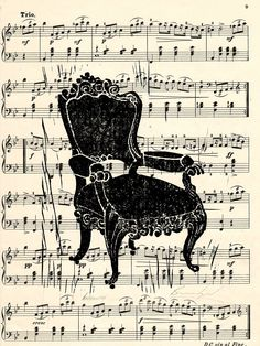 """Antoinette hand-printed lino-cut on vintage music sheet. A beautiful hand-printed lino-cut of an antique French chair on a vintage music sheet. Signed and ready for matting and framing. 12x9"""" in size."""