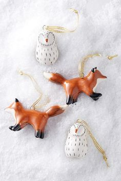 Woodland Creatures Christmas Ornament Set. Bring the enchanted forest into your living room this season with our woodland creature ornaments