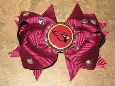 "NEW ""ARIZONA Cardinals"" Pro Girls Ribbon Hairbow Hair Bow Rhinestone Clip NFL Professional Football Bottlecap Hairbow Sports Team on Etsy, $6.99"