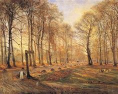 Theodor Philipsen Late Autumn Day in the Jægersborg Deer Park, North of Copenhagen, Late Autumn, Autumn Day, Fall, Winter, Lund, Animal Painter, National Gallery, Vintage Thanksgiving, Thanksgiving Cards
