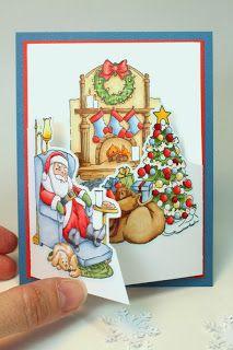 Santa Resting Retired (U get photo Art Impressions Rubber Stamps Christmas Cards To Make, Noel Christmas, Xmas Cards, Handmade Christmas, Holiday Cards, Christmas Crafts, Diy Cards, Tri Fold Cards, Folded Cards