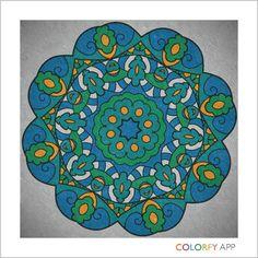 Colorfy Mandala - blue and green