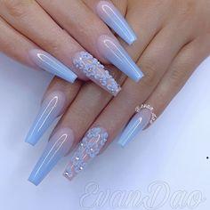 40 cute nail art designs to welcome summer 10 Blue Acrylic Nails, Summer Acrylic Nails, Acrylic Nail Designs, Nail Art Designs, Nails Design, Summer Nails, Sky Blue Nails, Spring Nails, Glitter Nails