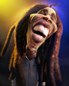 30 Very Funny Caricatures Of Famous Celebrities Black Celebrities, Famous Celebrities, Celebs, Funny Caricatures, Celebrity Caricatures, Bob Marley, Caricature Drawing, Funny Illustration, Wow Art