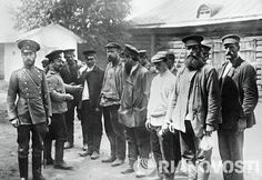 Russian officers meet fresh recruits during World War I.