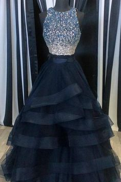 Scoop Neck Tulle Crystals Women Charming Layer Prom Dresses For Woman OK623