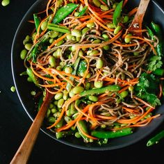 Sugar Snap Pea, Edamame and Carrot Soba Noodles.