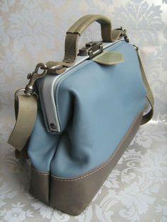 Dokterstas schoudertas blauw grijs