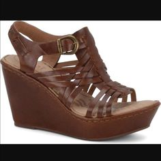 d9acb0e2346b1 Born Brown Leather Wedges Sandals Holidays