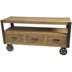 Aurelle Home Industrial Planked Wheeled TV Stand ($523) ❤ liked on Polyvore featuring home, furniture, storage & shelves, entertainment units, industrial media stand, industrial media cabinet, plank furniture, industrial furniture and industrial tv table