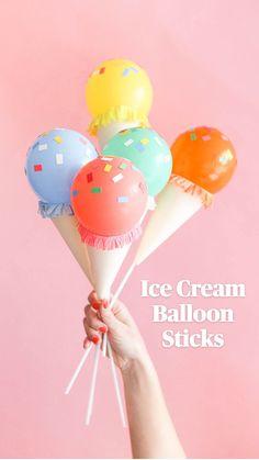 Balloon Decorations, Birthday Decorations, Birthday Party Themes, Balloon Garland, Homemade Party Decorations, Balloon Flowers, Birthday Ideas, Mini Ice Cream Cones, Ice Cream Theme
