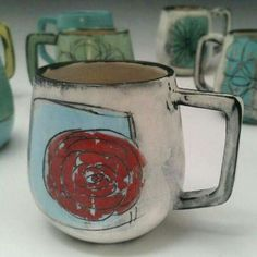 """whitneys-pottery: """" Pretty happy with this batch of mugs. Ceramic Tableware, Ceramic Cups, Ceramic Art, Porcelain Jewelry, Porcelain Clay, Pottery Mugs, Ceramic Pottery, Pottery Painting Designs, Clay Cup"""