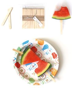 Watermelon on a stick...Use cantelope and they could be traffic cones