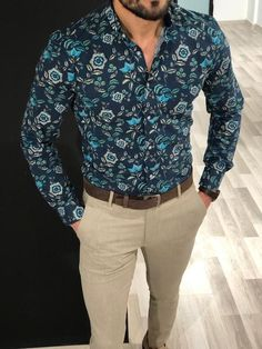 Baha SlimFit Buttoned Shirt Turquoise is part of Shirts - summer code turquoiseShirt material cotton , elestanAvailable Size SMLXLXXLMachine washable Yes Fitting slimfit Mens Casual Suits, Casual Wear For Men, Casual Shirts For Men, Trendy Mens Fashion, Stylish Mens Outfits, Men Fashion, Floral Shirt Outfit, Shirt Dress, Moda Formal