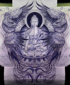 Phoenix wings and Buddha art inspiration tattoo design Buddha Tattoo Design, Buddha Tattoos, Body Art Tattoos, Sleeve Tattoos, Asian Tattoos, Trendy Tattoos, Black Tattoos, Buddha Kunst, Buddha Art