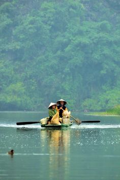 On the River - Two local women paddle their way to work at Trang An, Vietnam.