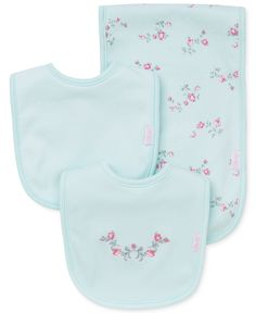 Little Me Baby Girls' 3-Piece Floral-Print Bib & Burp Cloth Set - Kids Newborn Shop - Macy's