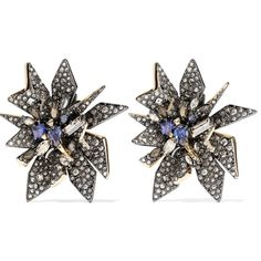 Alexis Bittar - Gunmetal-tone Crystal Clip Earrings (470 BRL) ❤ liked on Polyvore featuring jewelry, earrings, gunmetal, crystal clip on earrings, cuff earrings, blue clip on earrings, crystal cuff earrings and alexis bittar jewelry