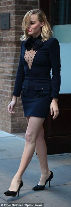 Margot Robbie slips into LBD during appearance in New York | Daily Mail Online