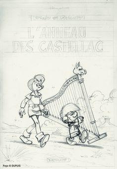 "original pencil cover of ""Johan et Pirlouit"" Johan Et Pirlouit, Comic Art, Comic Books, Ligne Claire, Photo Hosting, Drawing, Old School, Smurfs, Nostalgia"