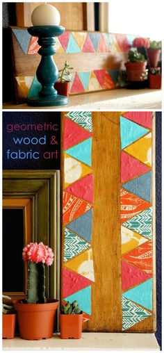 Creative geometric art on a piece of reclaimed wood. The colorful triangles add fun pops of color! Fun piece to add some character to mantel.