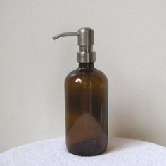 Amber Glass Soap Dispenser with Classic Stainless Steel Metal