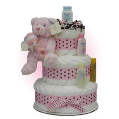 Baby Shower Gifts: Pinky Bear 3-Tier Diaper Cake